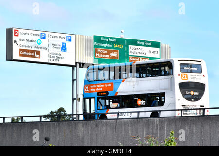 Double decker local bus operated by National Express on elevated Coventry ring road West Midlands England UK passing - Stock Photo