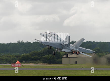 United States Navy Boeing F/A-18F Super Hornet multirole military fighter jet takes to display at the 2016 RIAT - Stock Photo