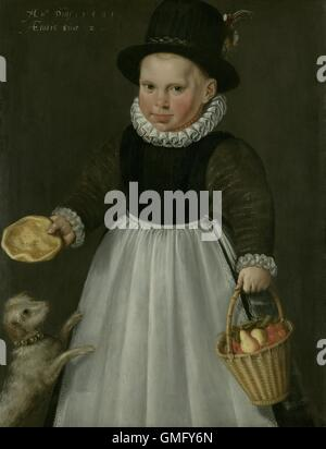 Portrait of a Little Boy, by Jacob Delff (I), 1581, Dutch painting, oil on panel. He holds a basket of fruit and - Stock Photo