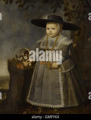 Portrait of a little Boy, by Willem van der Vliet, 1638, Dutch painting, oil on panel. 18 month old boy posed under - Stock Photo