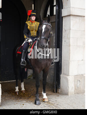 A female member of Kings Troop Royal Horse Artillery forms a part of the Queens' Life Guard at Horse Guard Parade, - Stock Photo