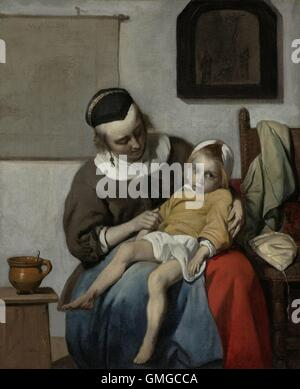 The Sick Child, by Gabriel Metsu, 1664-66, Dutch painting, oil on canvas. A mother sits with a child in her lap. - Stock Photo