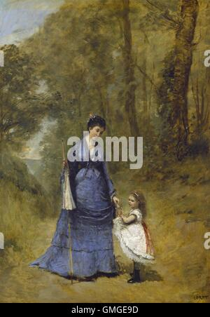 Madame Stumpf and Her Daughter, by Jean-Baptiste-Camille Corot, 1872, French painting, oil on canvas. This painting - Stock Photo