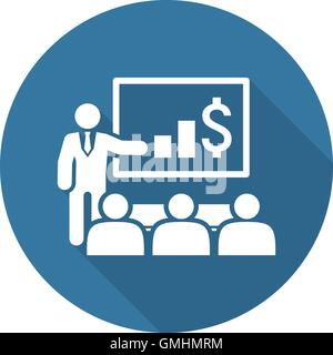 Presentation Icon. Business Concept. Flat Design. - Stock Photo