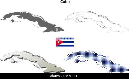 Cuba outline map set - Stock Photo