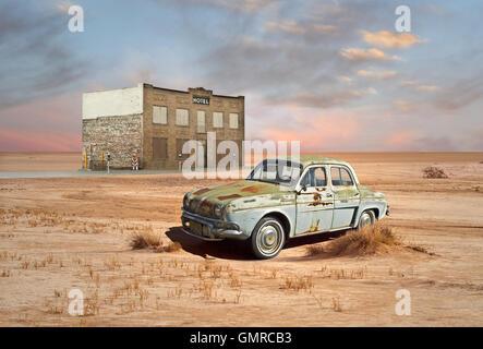 Retro Style Scene of vintage car and hotel in desert - Stock Photo