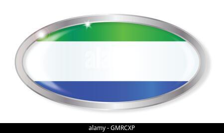 Sierra Leone Flag Oval Button - Stock Photo