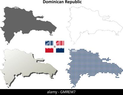 Dominican Republic outline map set - Stock Photo