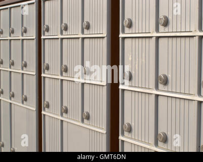 Locker rows of rural Canada Post metal mail box - Stock Photo