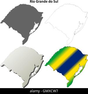 Rio Grande do Sul blank outline map set - Stock Photo