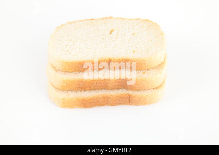 Stack of white bread isolated on white - Stock Photo
