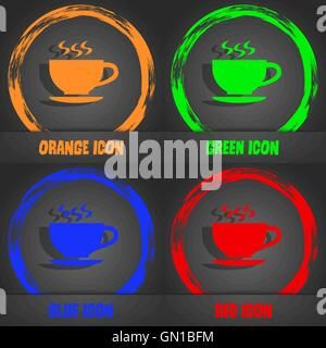 The tea and cup icon. Fashionable modern style. In the orange, green, blue, red design. Vector - Stock Photo