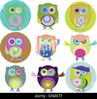 Vector illustration of colorful owls with nine color combinations - Stock Photo