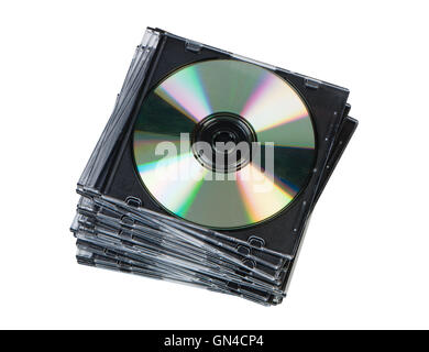 Stack CD discs in box isolated on white background top view. - Stock Photo