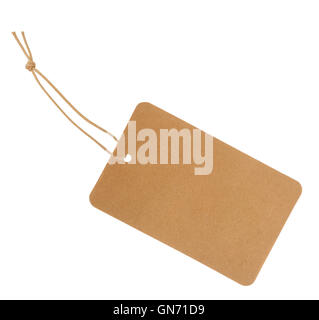 Etiquette with cord isolated on white background - Stock Photo