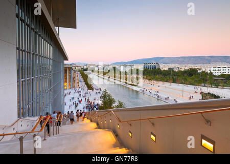 View of Stavros Niarchos Foundation Cultural Center and city of Athens. - Stock Photo