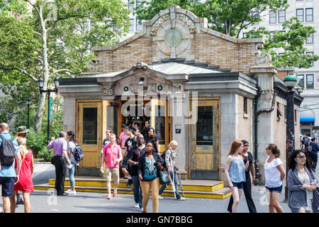 Lower Manhattan New York City NYC NY Downtown Battery Park public park Control House Bowling Green subway station - Stock Photo