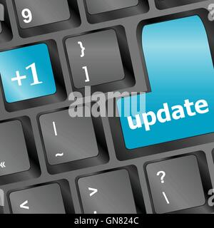 Upgrade computer key on blue keyboard vector illustration - Stock Photo