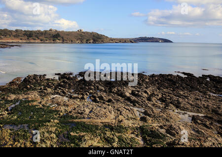 Falmouth Bay with Pendennis Castle and St Anthony Head, Cornwall, England, UK. - Stock Photo