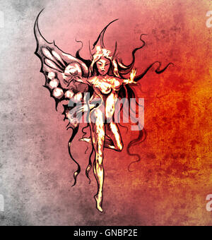 Sketch of tattoo art, fairy butterfly - Stock Photo