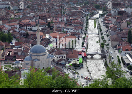 Prizren, Kosovo - May 6, 2015 : Top view of the historic city of Prizren, second largest city of Kosovo - Stock Photo
