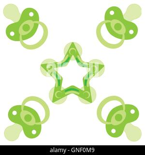 Cute picture of a baby pacifiers and teething ring on a white background - Stock Photo