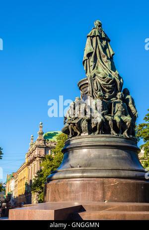 Monument of Catherine II in Saint Petersburg - Russia - Stock Photo