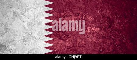 flag of Qatar or Qatari banner on vintage background - Stock Photo