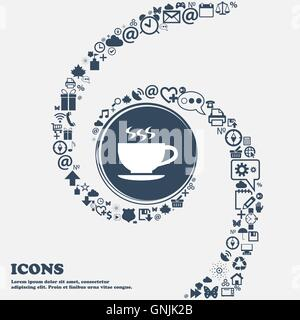 The tea and cup icon in the center. Around the many beautiful symbols twisted in a spiral. You can use each separately - Stock Photo
