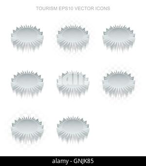 Vacation icons set: different views of metallic Sun, transparent shadow, EPS 10 vector. - Stock Photo