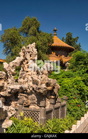 Imperial Garden at Forbidden City in Beijing, China - Stock Photo