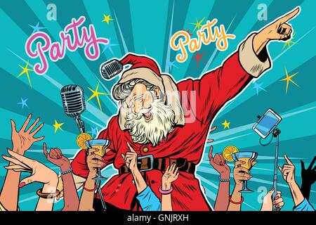 Christmas party Santa Claus singer - Stock Photo
