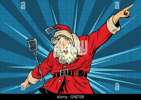 Santa Claus superstar singer on stage - Stock Photo