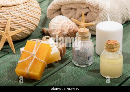 colorful natural herbal soaps - Stock Photo