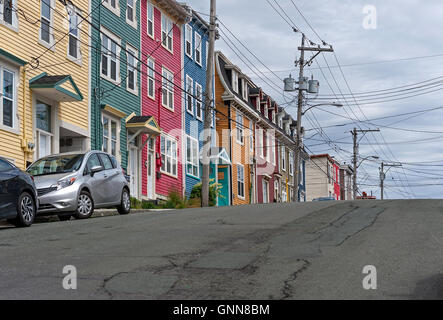 Multi-colored row houses in St. John's Newfoundland - Stock Photo