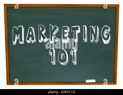 Marketing 101 Words on Chalkboard Basics - Stock Photo