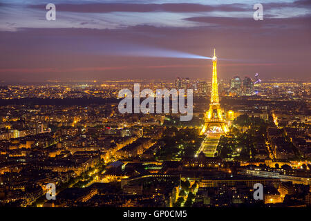 Evening view on Paris and the Eiffel Tower. - Stock Photo