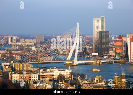 View on the Erasmus bridge and the city center of Rotterdam - Stock Photo