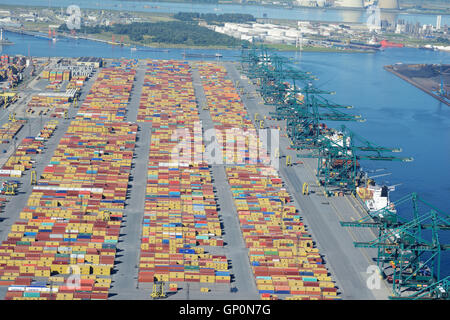 CONTAINERS & CRANES ON DELWAIDE DOCK (aerial view). Delwaidedok, Antwerp Harbor, Belgium. - Stock Photo