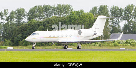 LEEUWARDEN, THE NETHERLANDS - JUNE 10: Air Force Gulfstream Aerospace C-20H Gulfstream IV during the Dutch Air Force - Stock Photo