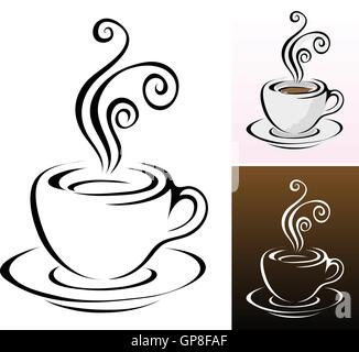 coffee cups icons in different colours & styles - Stock Photo