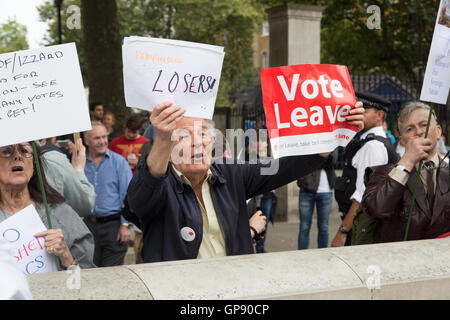 London, UK. 3rd September, 2016. A pro-Brexit counter-protester taunts pro-EU marchers demonstrating against Brexit - Stock Photo
