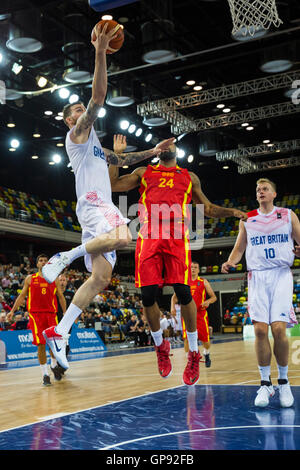 Copperbox Arena, London, UK, 3rd September 2016. Great Britain face the team from Macedonia in the Euro Basket 2017 - Stock Photo