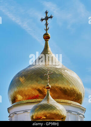 Cross on the dome of the Orthodox Church - Stock Photo