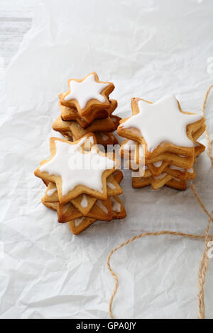 Gingerbread star cookies, holiday food close-up - Stock Photo