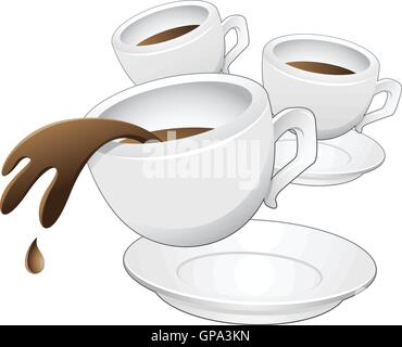 Vector illustration of Coffee Cups in motion - Stock Photo