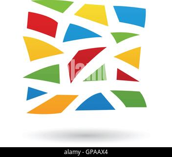 Colorful Mosaic Abstract Icon Illustration isolated on a white background - Stock Photo