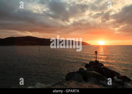 Gwbert on Sea where the river Teifi enters Cardigan Bay - Stock Photo