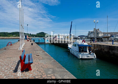 Power boat in the lock at Paimpol Brittany France - Stock Photo