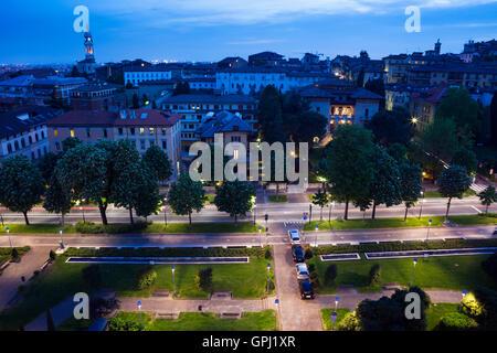 Piazza della Repubblica and view to Lower town of Bergamo, Italy - Stock Photo